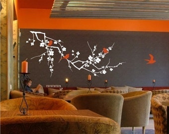 Cherry Blossom Branch with Birds Vinyl Wall Decals Stickers Art Graphics