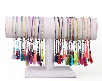 Random color, tassel and beaded bracelets