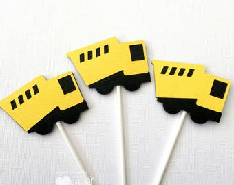 Construction Truck Cupcake Toppers in Black & Yellow. Little dump truck, birthday party, first birthday, baby shower. Cupcake pick.