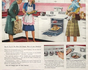 1945 GE Speed Cooking Automatic Electric Range Ad - General Electric Oven - Pink & White Kitchen - 1940s Housewife - Slayton Underhill Art