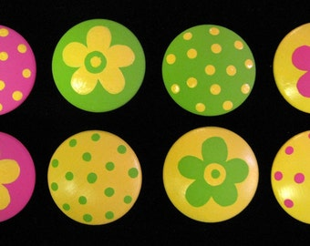 8 - GREEN, YELLOW and PINK - Polka Dots & Flowers - Drawer Knobs / Pulls
