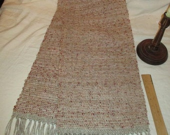 """Table runner, handwoven,.Beige ,  56"""" +3 1/2"""" fringe, so   total length is 63"""",      by  12""""  wide"""