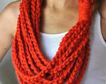 Orange Scarf Necklace / Mid Length / Orange Scarf / Crochet Chain Scarf