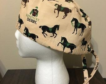 Kentucky Derby Horses Scrub Cap, Surgery Cap, Scrub Caps, Scrub Hat