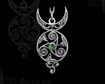 Wicca Horned God necklace with triskel, zoomorphic ornaments, and a gemstone of your choice, Wicca Jewelry