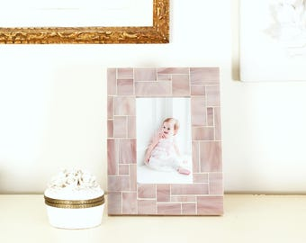 4x6 or 5x7 Picture Frame Glass Tiles in Mauve for Your Mauve Décor