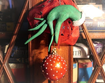 The GRINCH Hand with Crystal Adorned Bauble - Christmas Ornament Decoration