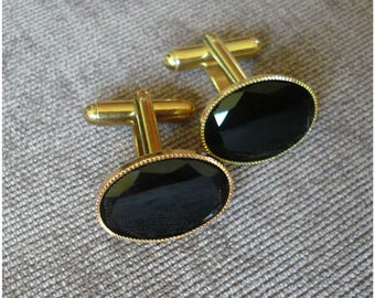Black Onyx Cuff Links.Faceted Edged Gemstone Gold Plated 13 x18 mm Oval.Cufflinks.Gift for him.Dad.Mens Vintage Style.Birthday.Wedding.Groom
