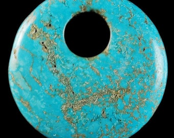 35mm Blue Howlite Turquoise Donut Pendant Bead