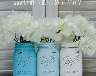 Painted Mason Jar Vases - Turquoise and White