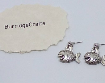 Handmade Silver Tone (Antique Look) Fish Stud Earrings.