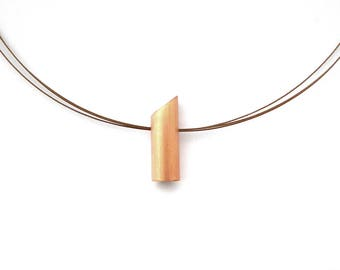 Minimal minimalist copper necklace, hammered recycled copper tube, stainless steel Beadalonwire made USA, stainless steel finishing