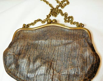Leather Purse, Tiny, Vintage, 30's,40's, Collectible