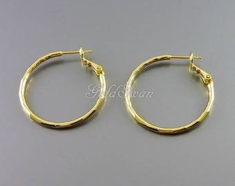 2 pcs / 1 pair small 30mm shiny gold plated brass hoop earrings, gold circle huggie earrings 977-BG-30 (shiny gold)