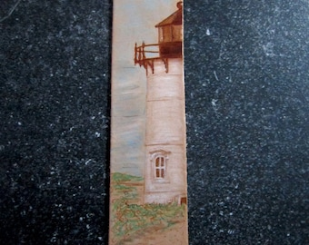 Race Point Lighthouse Bookmark - Leather Bookmark - Pyrography