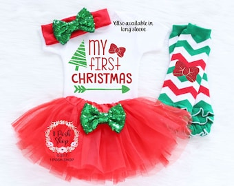 Baby First Christmas Outfit, My First Christmas, Baby First Christmas Bodysuit, Baby Christmas Tutu, Baby First Christmas Outfit Girl HC11