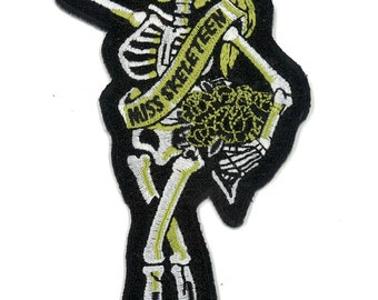 Iron On Skeleton Girl Patch - Sugar Skull Dia de los Muertos Day of the Dead Esqueleto Tattoo Art Rocker Roller Derby Skater Emo Burlesque