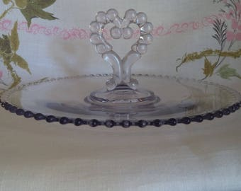 Imperial Candlewick Glass, Candlewick Platter with Heart Handle, Lavender Tinted Glass