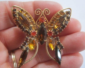 Vintage Beautiful Large Goldtone Amber Glass Rhinestone Butterfly Brooch