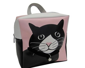 Toddler Cat Backpack by Little Packrats, Gift for Cat Lover, Kid Size Chloe the Tuxedo Cat Backpack