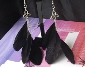 Charmed Black Feather Earrings