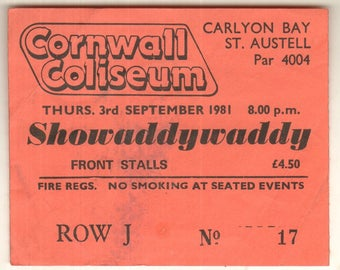 SHOWADDYWADDY Cornwall Coliseum St Austell England 3rd Sept 1981 UK Ticket Stub