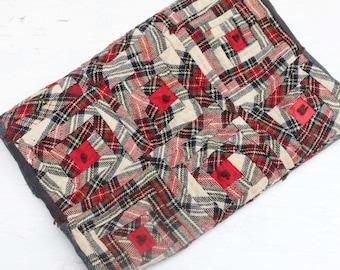 Vintage Tartan Plaid Quilt, Plaid Wool Throw, Stadium Blanket, Wool Men's Suiting Quilt