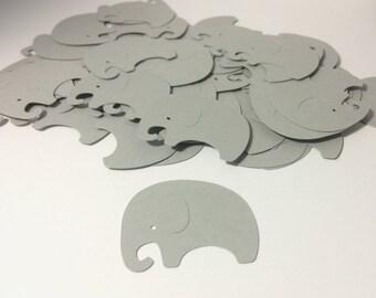 Elephant Confetti - Die Cut Elephants - Gray Elephant - Baby Shower Die Cut - Baby Elephant Confetti - Jungle Theme - Gender Neutral Party