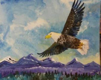 Eagle print from original, Giclee, Birds of Prey, Bird, Bald eagle, acrylic, flight, bird in flight, eagle,