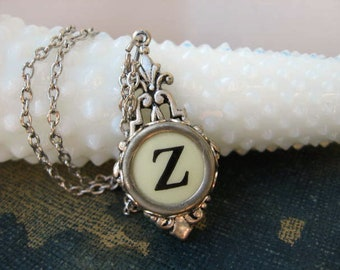 Typewriter Key Jewelry - Typewriter Necklace - Initial Z - Typewriter Charm - Vintage Key