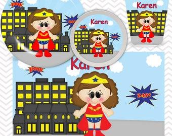 Wonder Women Plate, Bowl, Cup, Placemat - Personalized Super Hero Dinnerware for Kids - Custom Tableware