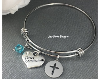 Gift for Goddaughter First Communion Gift Bracelet Bangle Bracelet Baptism Gift Idea Gift from Godmother Jewelry for Goddaughter