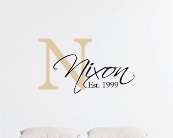 Custom Monogram & Last Name Vinyl Decal Set | Personalized Home Decor, Wall Art Lettering Decals 28.3x16 | 40+ Colors Available! Quick Ship!