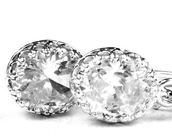 Cubic Zirconia (CZ), 925 Sterling Silver Crown Bezel Leverback Earrings, SE109