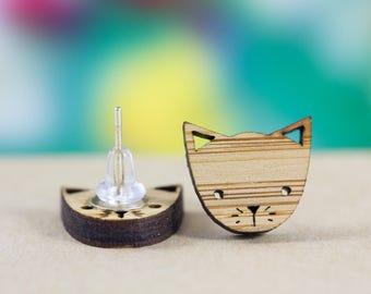 Cat Stud Earrings | Cat Post Earrings | Kitty Earrings | Cat Lover Gift | Pet Earrings | Crazy Cat Lady | Tiny Cat | Cat Face | Tiny cat