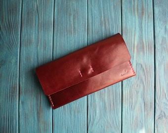 Leather wallet women Envelope wallet Minimalist leather wallet Long leather wallet Slim leather wallet Leather gift ideas Thin wallet