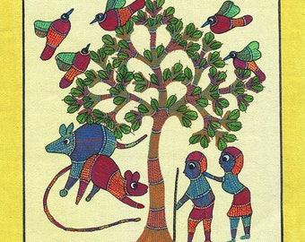 Microcosm of the Tribal World, Gond Artwork, Original Acrylic.