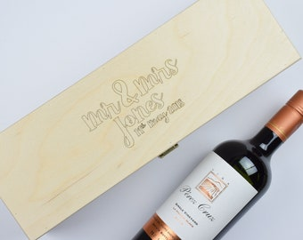 Personalised Wedding Wooden Wine Box, Wedding Present, Anniversary Gift, Fits Wine and Champagne Bottles.
