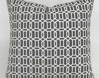 Pillow Cover - Gray - White - Geometric Design - Modern Style - Transitional - Fully Lined - Invisible Zipper