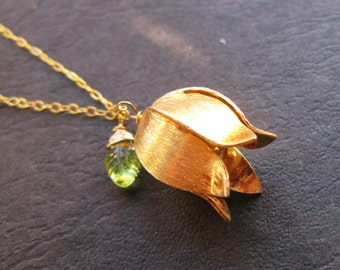 Golden Lotus 24K Gold vermeil tulip pendant with peridot leaf necklace