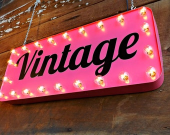 Vintage marquee sign Chic boutique window sign Mid century decor Vintage clothing Vintage store front Hanging sign lighted marquee