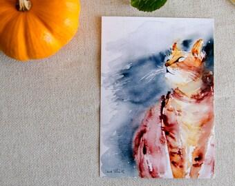 Ginger cat postcard, print postcard
