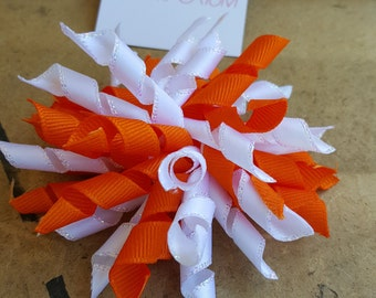 Orange and White | Korker Bow | Hair Bow | Brooch Pin Accessory