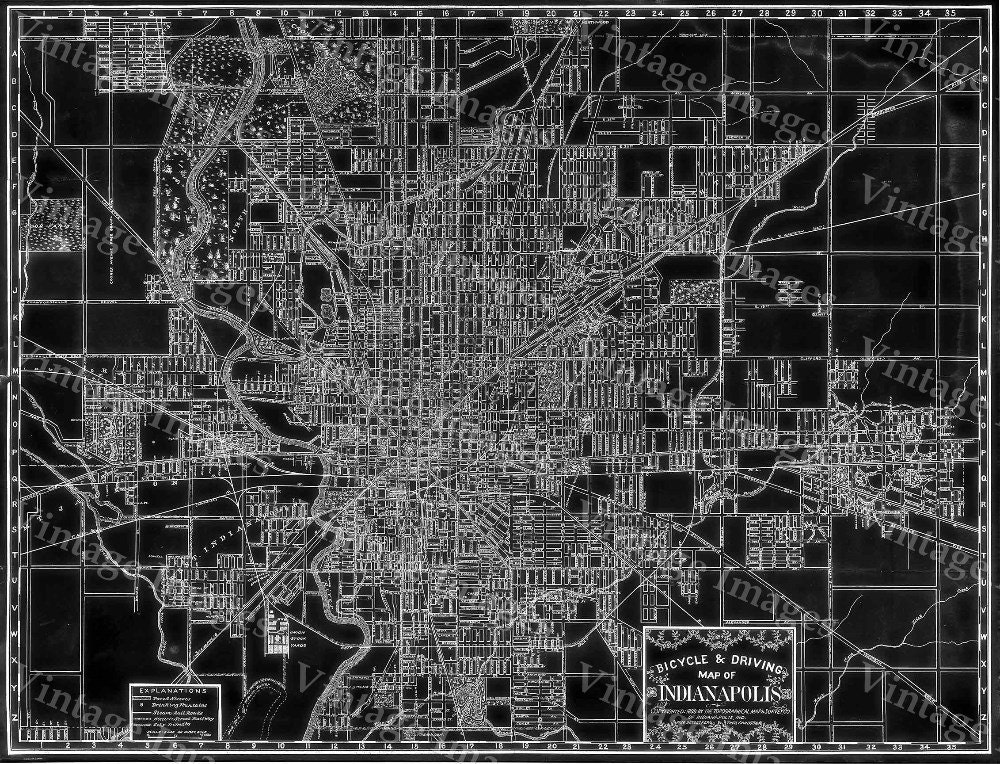 Indianapolis Map Black Map of Indianapolis 1899 vintage