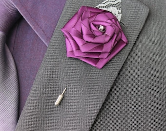 Plum Wedding Boutonniere Grooms Boutonniere Groomsmen Boutonniere Mens Wedding Boutonniere Plum Boutonniere Wedding Accessories  Boutonniere