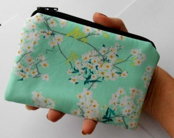 Small Zipper Coin Purse Zipper Pouch ECO Friendly Padded Pouch Rainwater Blooms