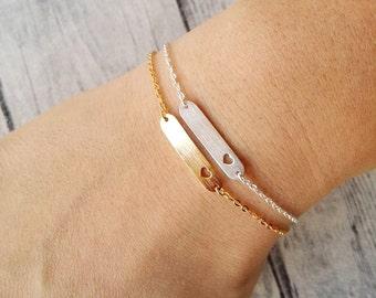 Delicate bar bracelet, Cut out heart bracelet, Chain link bracelet, Steel bracelet, Valentine bracelet, Minimal bracelet, Heart bracelet