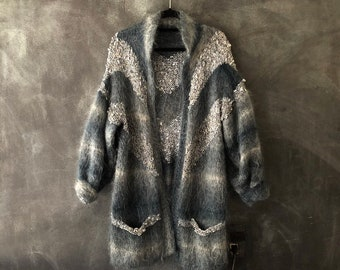 80s Mohair Angora Rayon Cardigan Knit Jacket Ombre Grey Teal Long Sweater Stripped Chevron Fuzzy Wearable Art Modernist Sweater OSFM