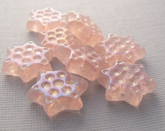 Rosaline Pink Full AB 15mm Dimpled Star Czech Glass Beads 10pc #2274
