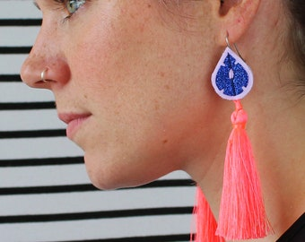 NEON CORAL TASSEL Earrings with a blue glitter tear drop. Colourful Jewellery. Fluorescent pink earrings. U.V reactive earrings.